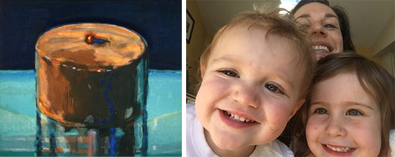 Collage of Wayne Thiebaud's Dark cake on left and the author with children on right.