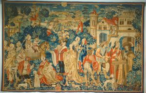large woven tapestry with overall design, children, men and women in medieval dress in front of castle-structures, a hunting scene in the background, lush and rich trees, vegetation, a sense of revelry and abundance. In front of tapestry, a small child pickpockets a woman dressed in wealthy attire.